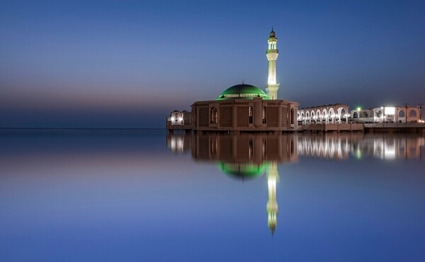 A beautiful blue hour showing the famous floating mosque(Mercy mosque) on the Red Sea beautiful scene specially on sunset -sunrise time  Al corniche jeddah city