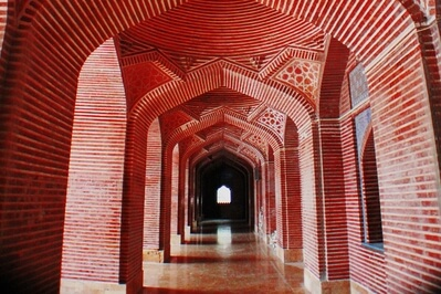 The Shah Jahan Mosque, also known as the Jamia Masjid of Thatta, is a 17th-century building that serves as the central mosque for the city of Thatta, in the Pakistani province of Sindh. The mosque is considered to have the most elaborate display of tile work in South Asia, and is also notable for its geometric brick work - a decorative element that is unusual for Mughal-period mosques. It was built during the reign of Mughal emperor Shah Jahan, who bestowed it to the city as a token of gratitude, and is heavily influenced by Central Asian architecture - a reflection of Shah Jahan's campaigns near Samarkand shortly before the mosque was designed.