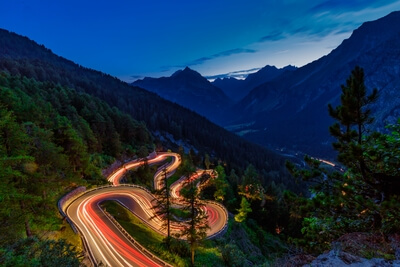 Road to Maloja pass on a summer evening