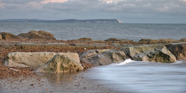 Polar bear and cubs view of the needles Isle Of Wight from the long groyne