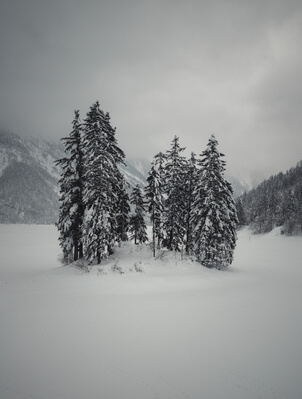 Lago del Predil covered in snow
