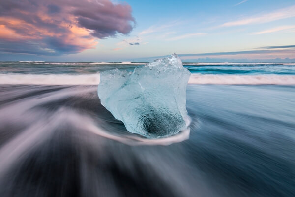 Ice diamond on Jokulsarlon Beach
