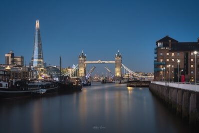 images of London - View of The Shard & Tower Bridge from HMS President docks