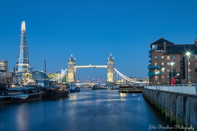 pictures of London - View of The Shard & Tower Bridge from HMS President docks