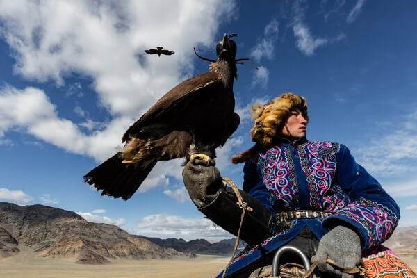 A Kazakh Eagle Hunter hotels his bird waiting to participate in a competitive event