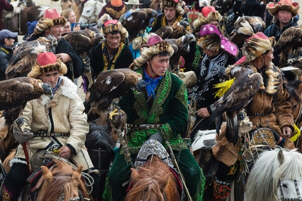 Kazakh Eagle Hunters meet for the opening ceremony for the annual Eagle Festival