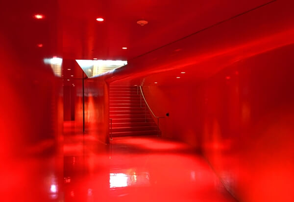 The Red Hall at Seattle's Central Library.
