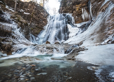 Stegovnik waterfall in winter