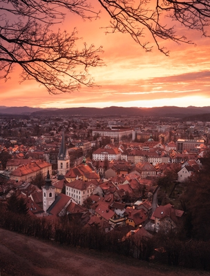 Sunset above Ljubljana from castle hill viewpoint