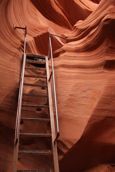 One of many ladders in Lower Antelope Canyon