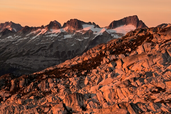 Sunset from Hidden Lake Peaks