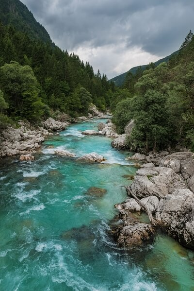 Soča River from the Suspension Bridge