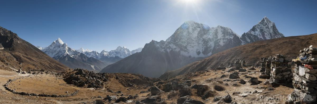 Image of Everest memorial chortens by Alex Treadway