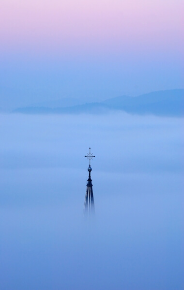 St Jacob's church in fog