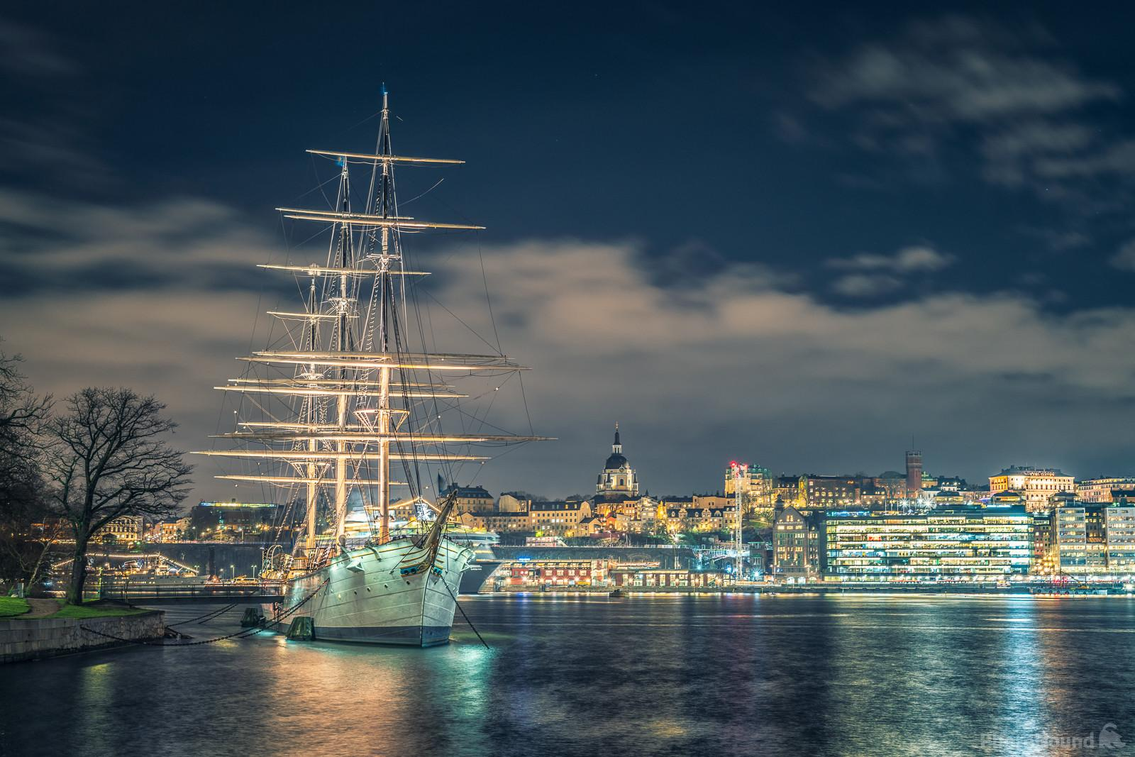 Night time view of the ship