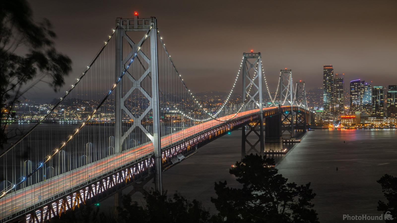 Long exposure of the Bay Bridge from the top of Yerba Buena island, looking west toward San Francisco.