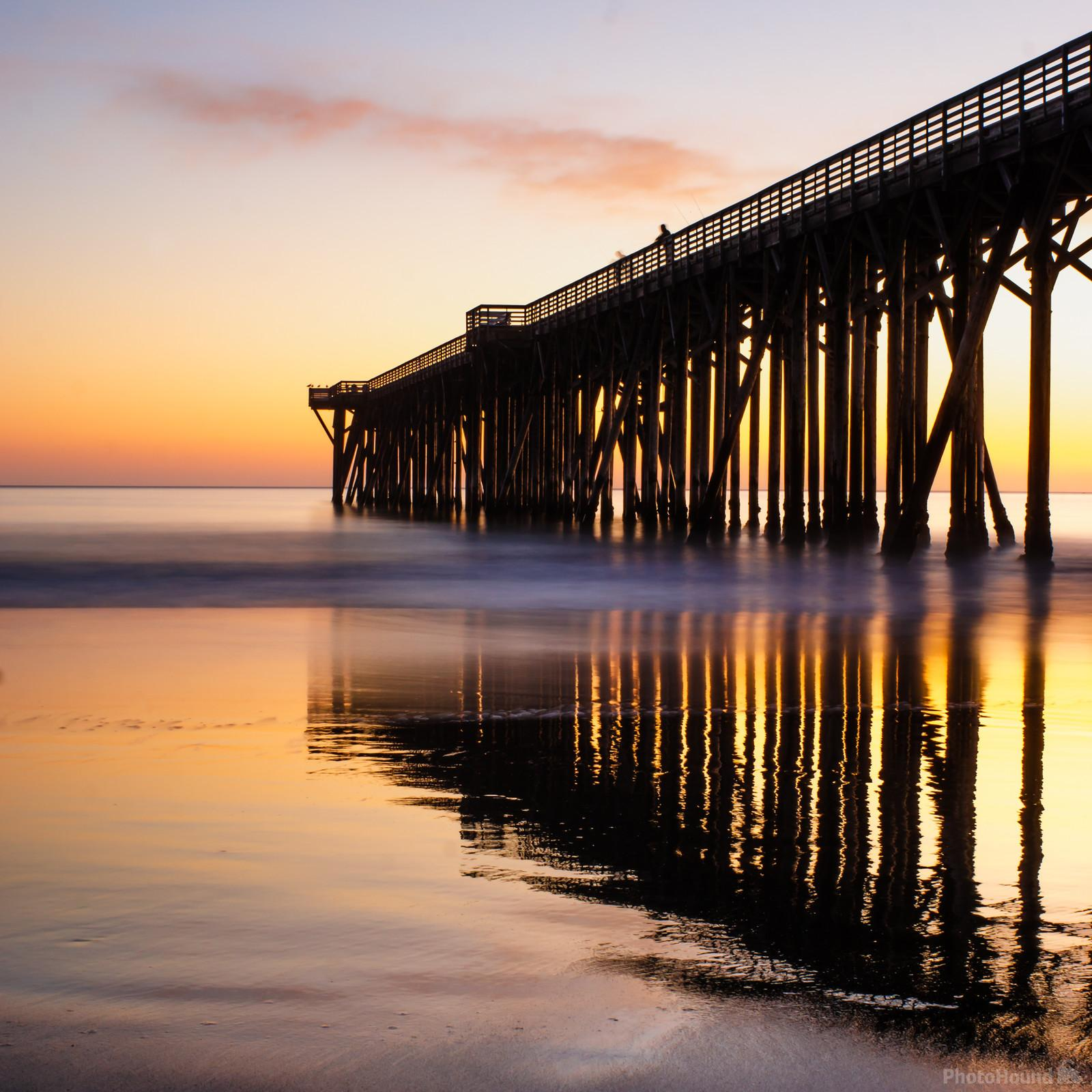San Simeon Pier at sunset and low tide