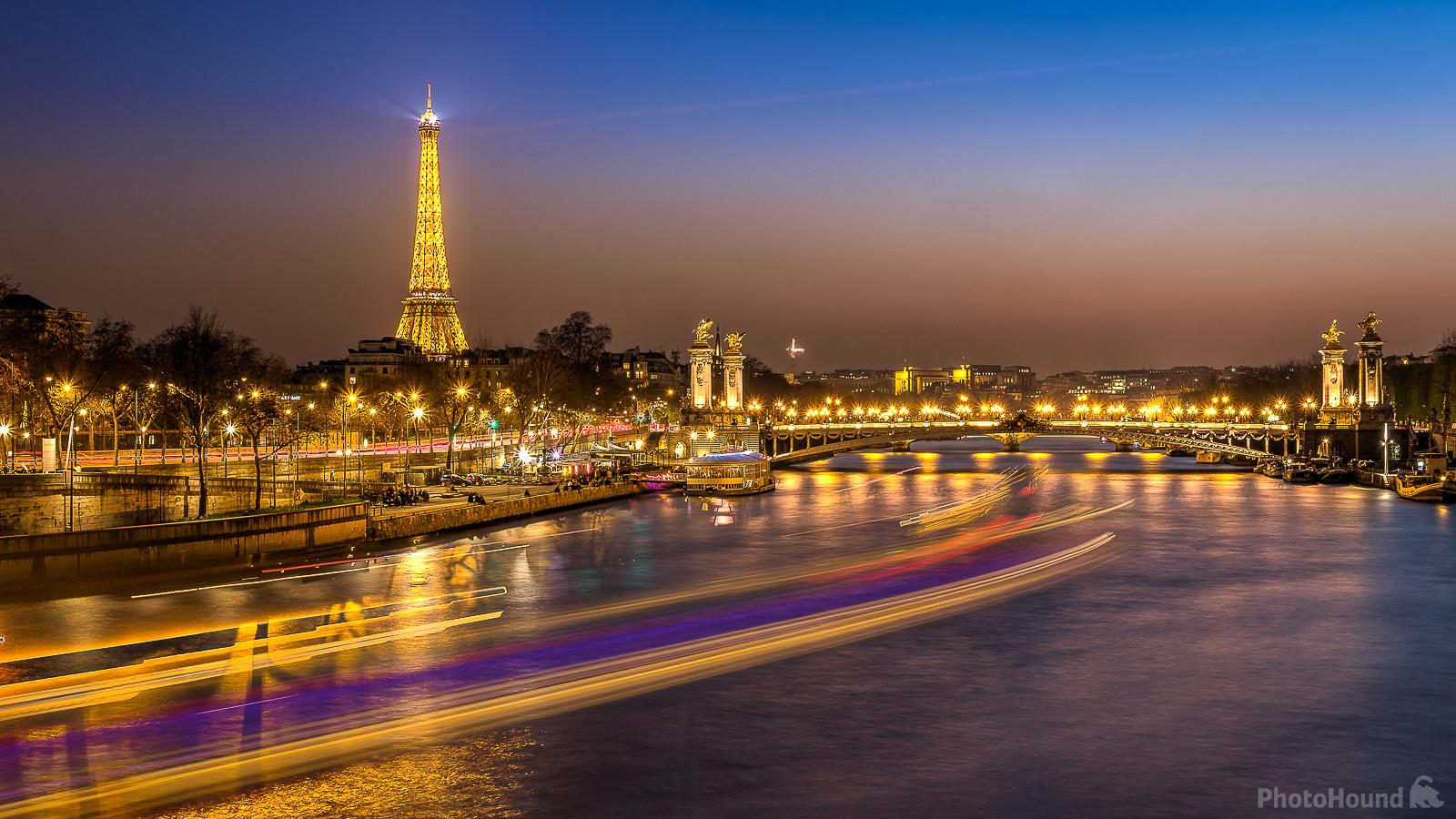 Blue hour on  the Eiffel Tower (