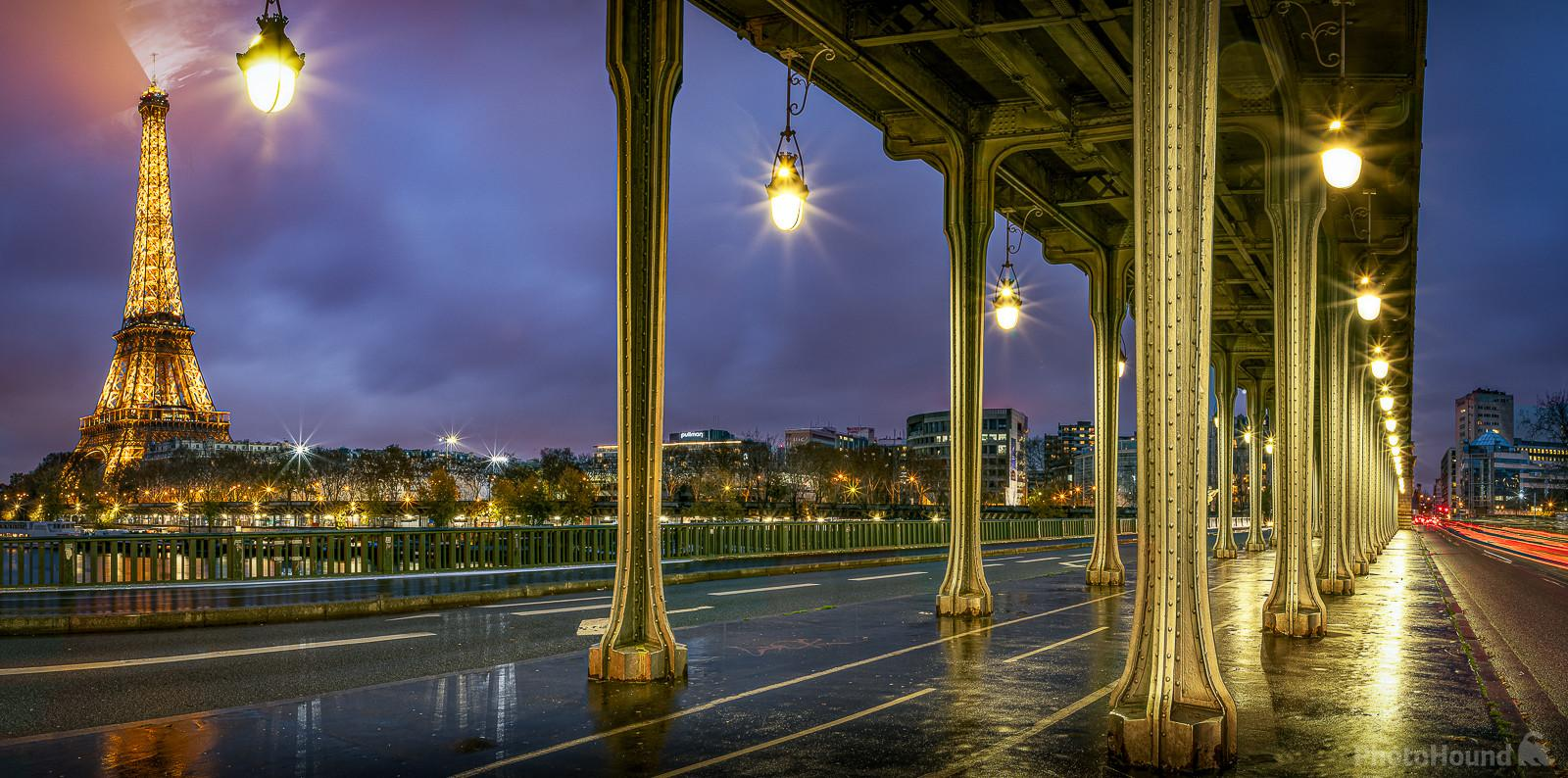 Blue Hour on the Eiffel tower view from under the Pont de Bir-Hakeim (